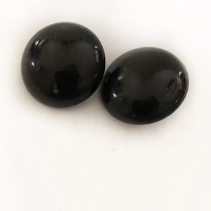Vintage Clip On Large Black Stud Earrings